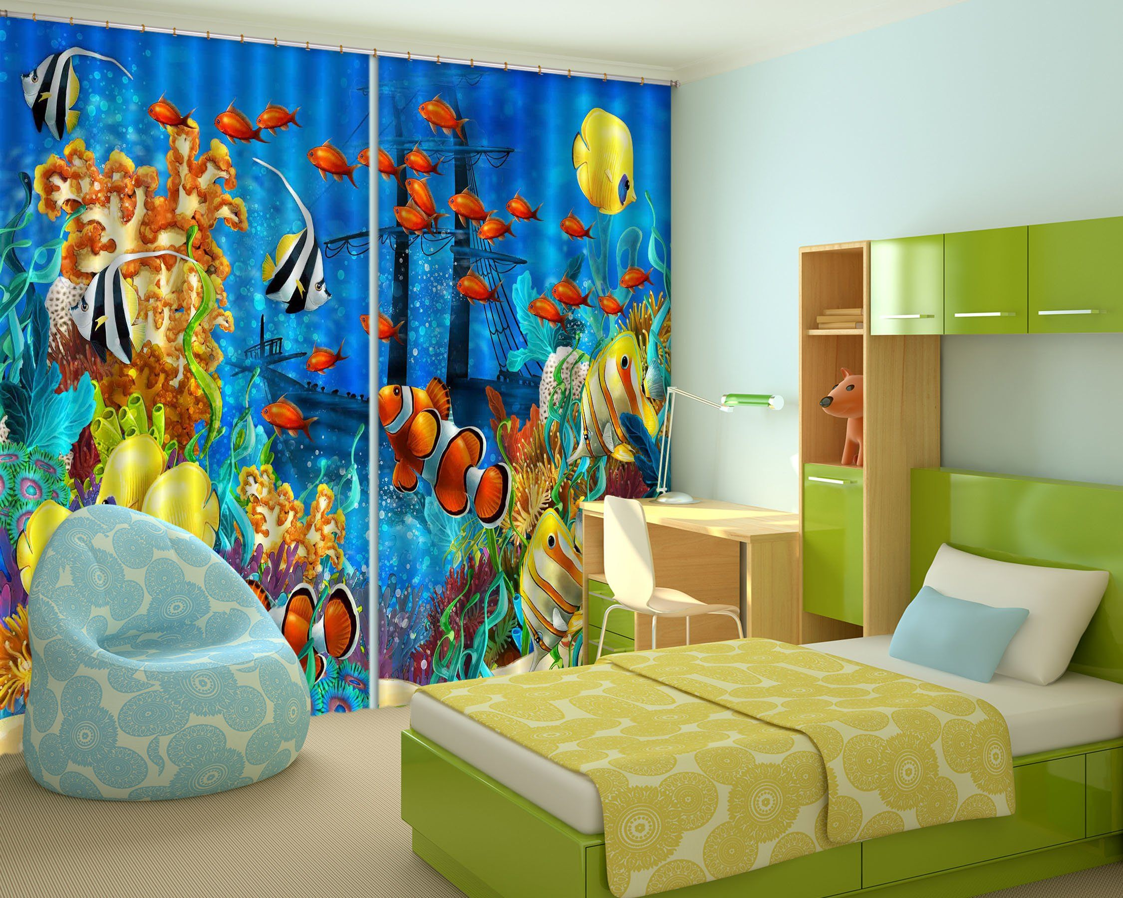 3D Beautiful Ocean World 2254 Curtains Drapes