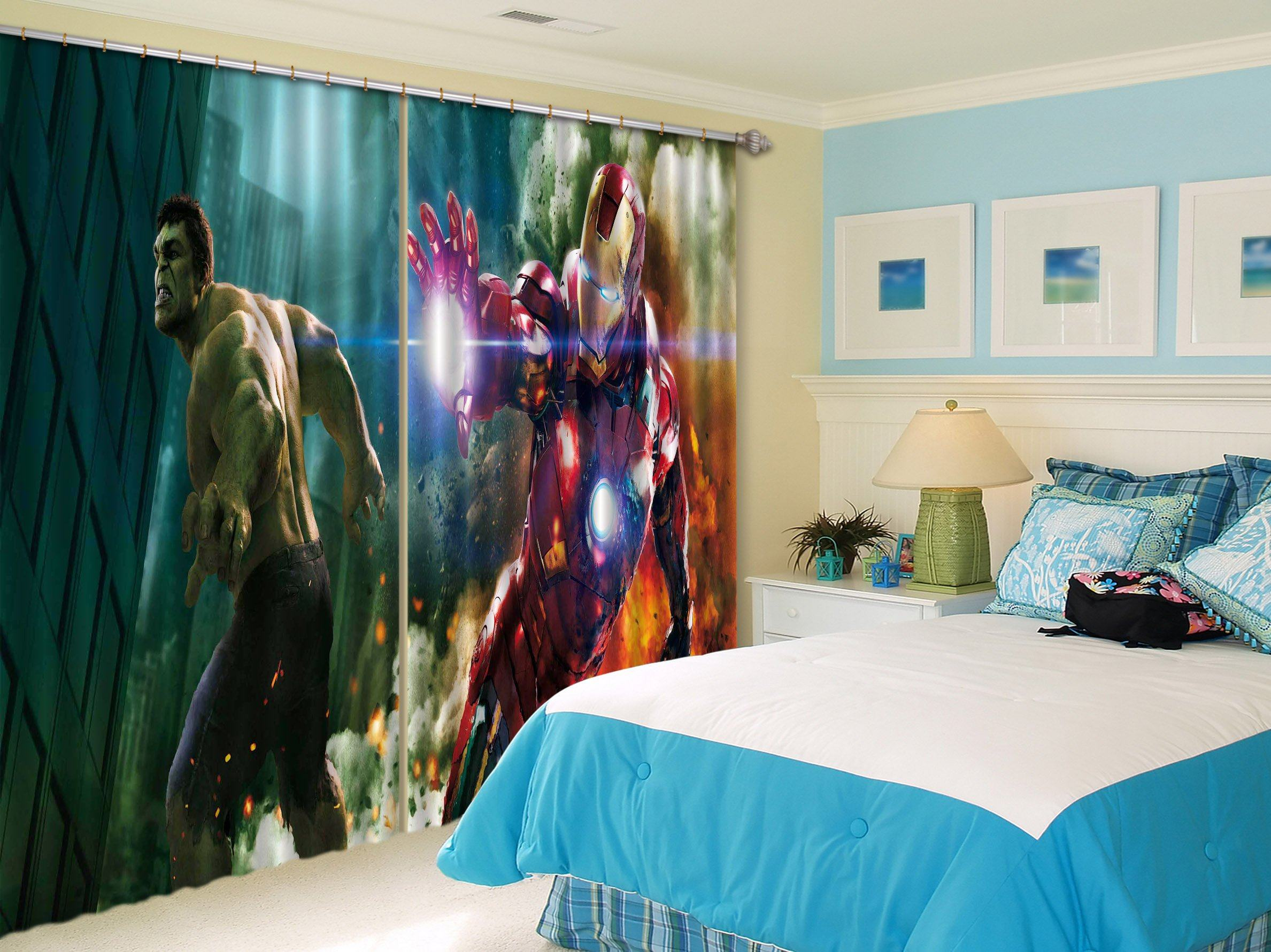 3D City Heros 2476 Curtains Drapes