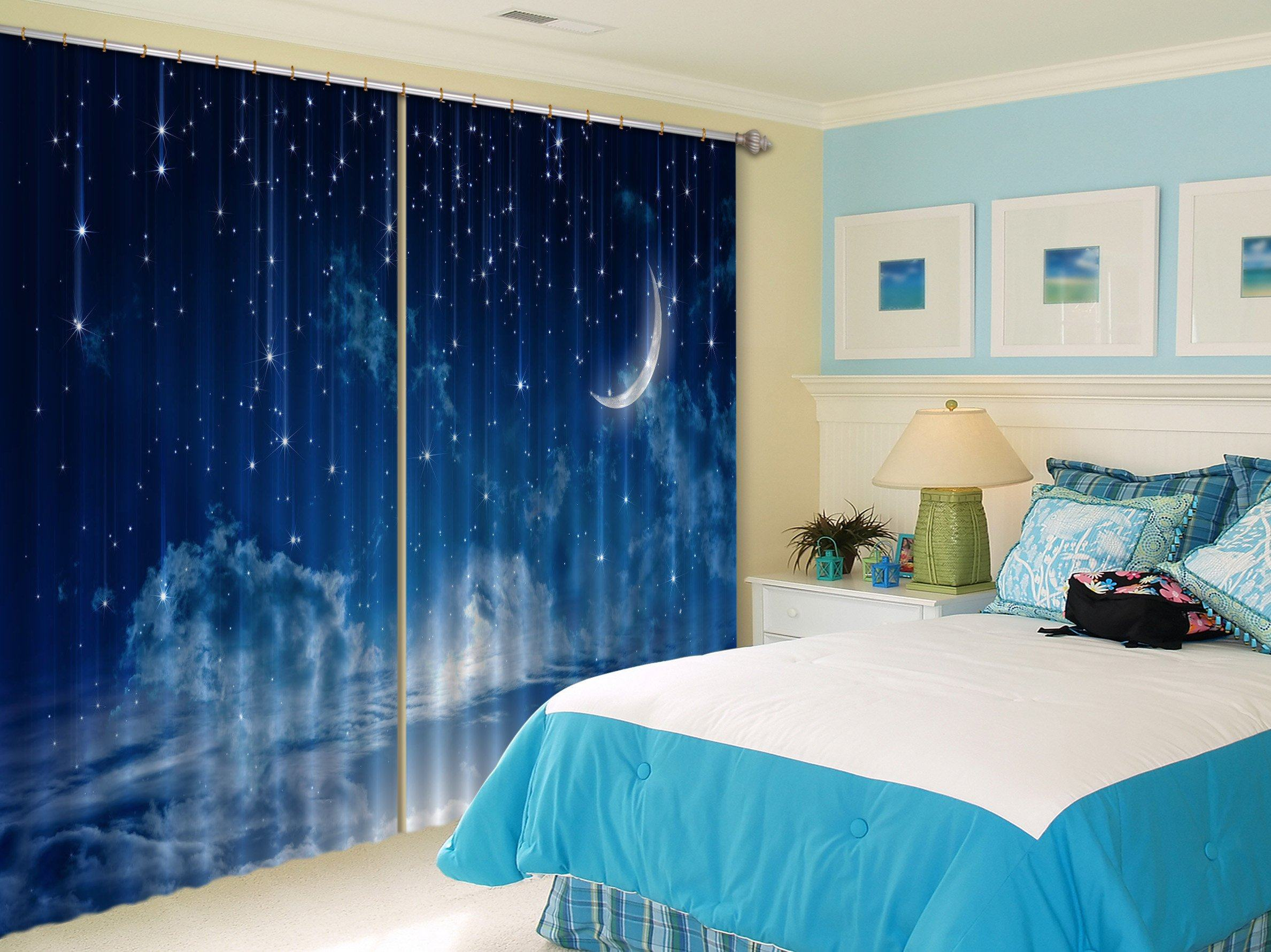 3D Blue Stars Sky 445 Beach Curtains Drapes