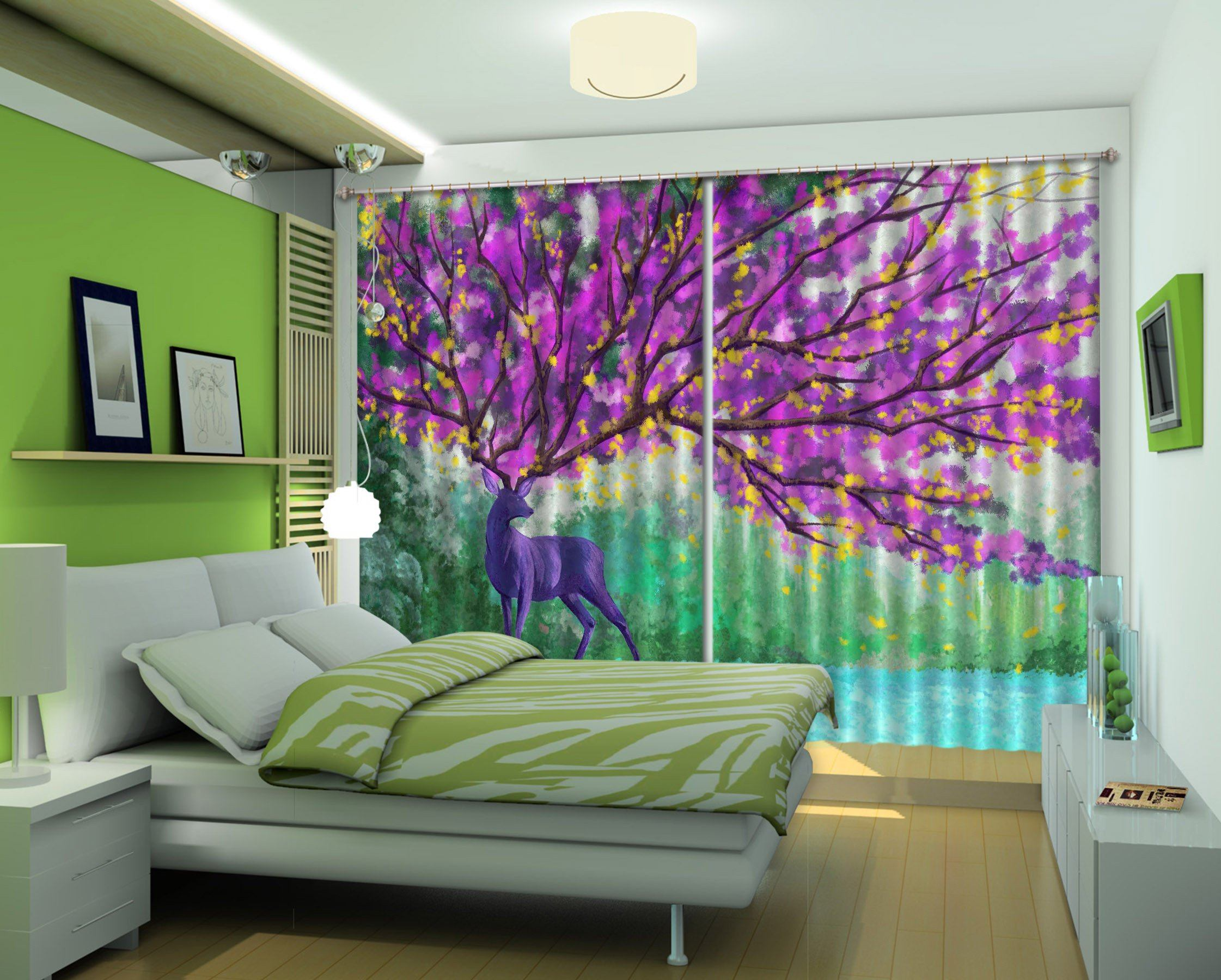 3D Animal Flowering Tree 518 Curtains Drapes