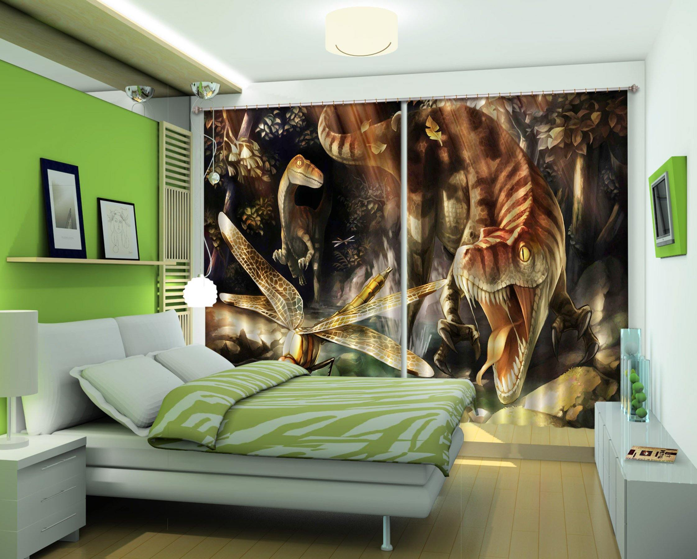 3D Tyrannosaurus Dragonfly 171 Curtains Drapes Curtains AJ Creativity Home