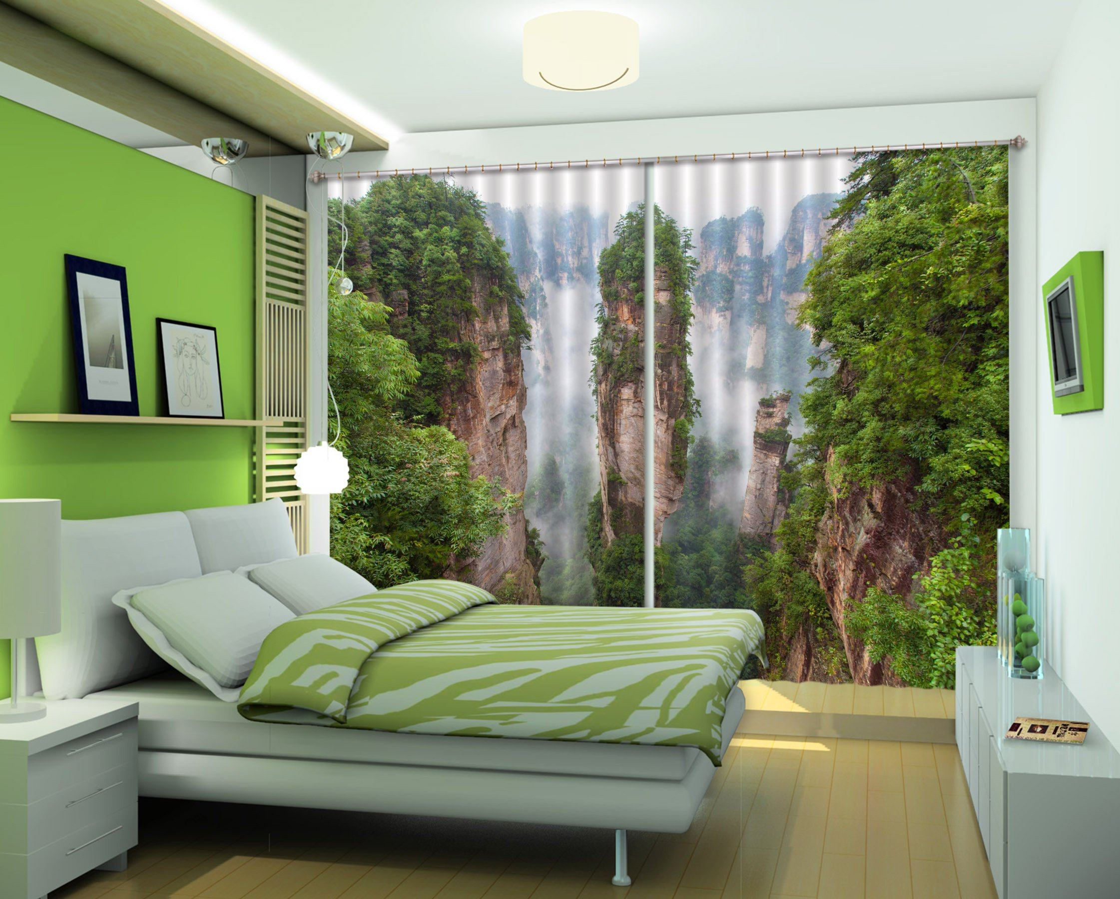 3D Beautiful Mountains 04 Curtains Drapes