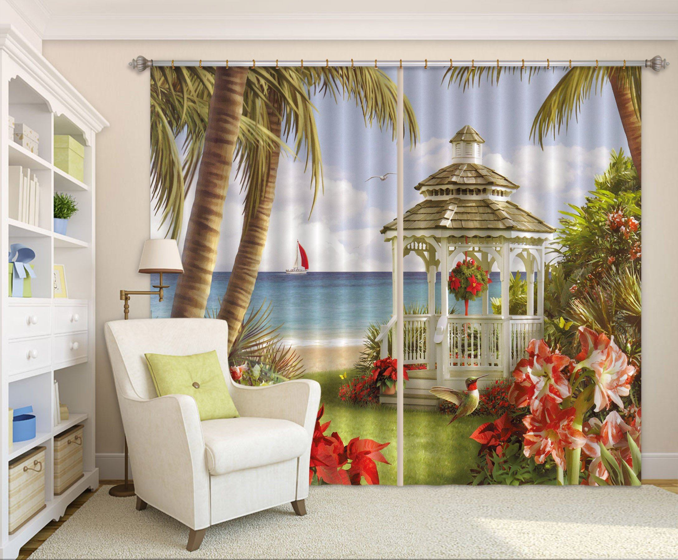 3D Beach Pavilion Curtains Drapes