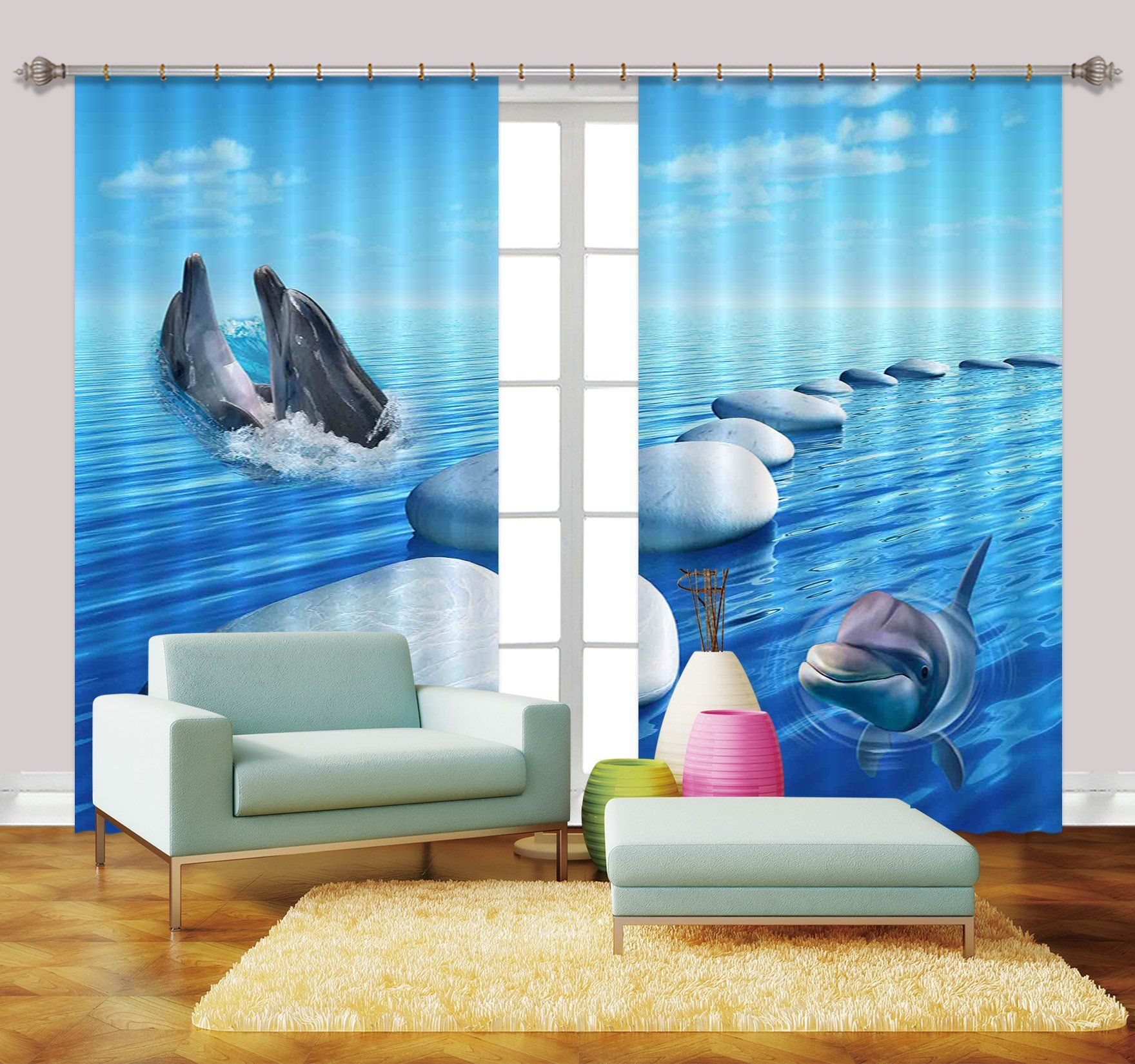 3D Blue Sea Dolphins 2238 Curtains Drapes