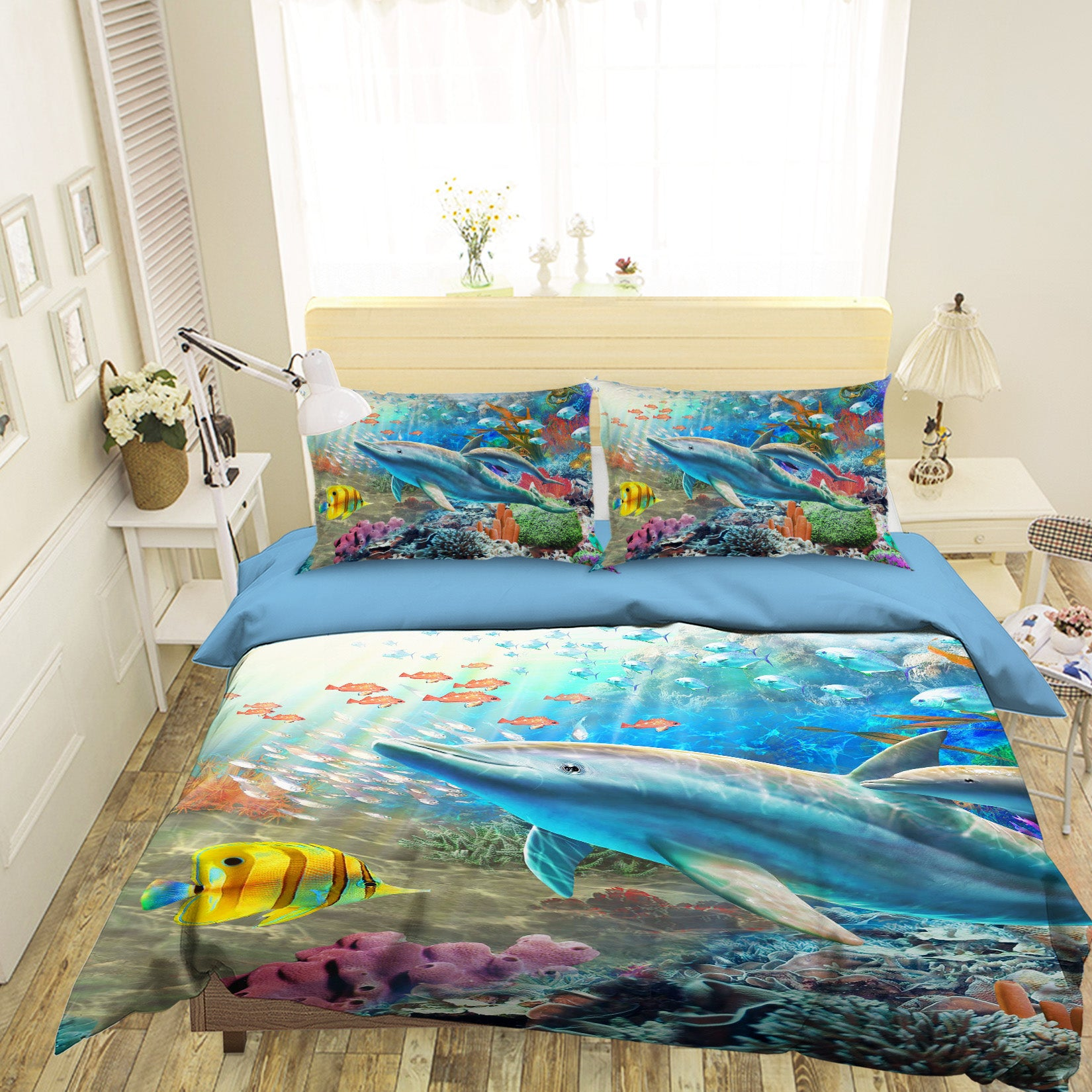 3D Happy Dolphin 2036 Adrian Chesterman Bedding Bed Pillowcases Quilt