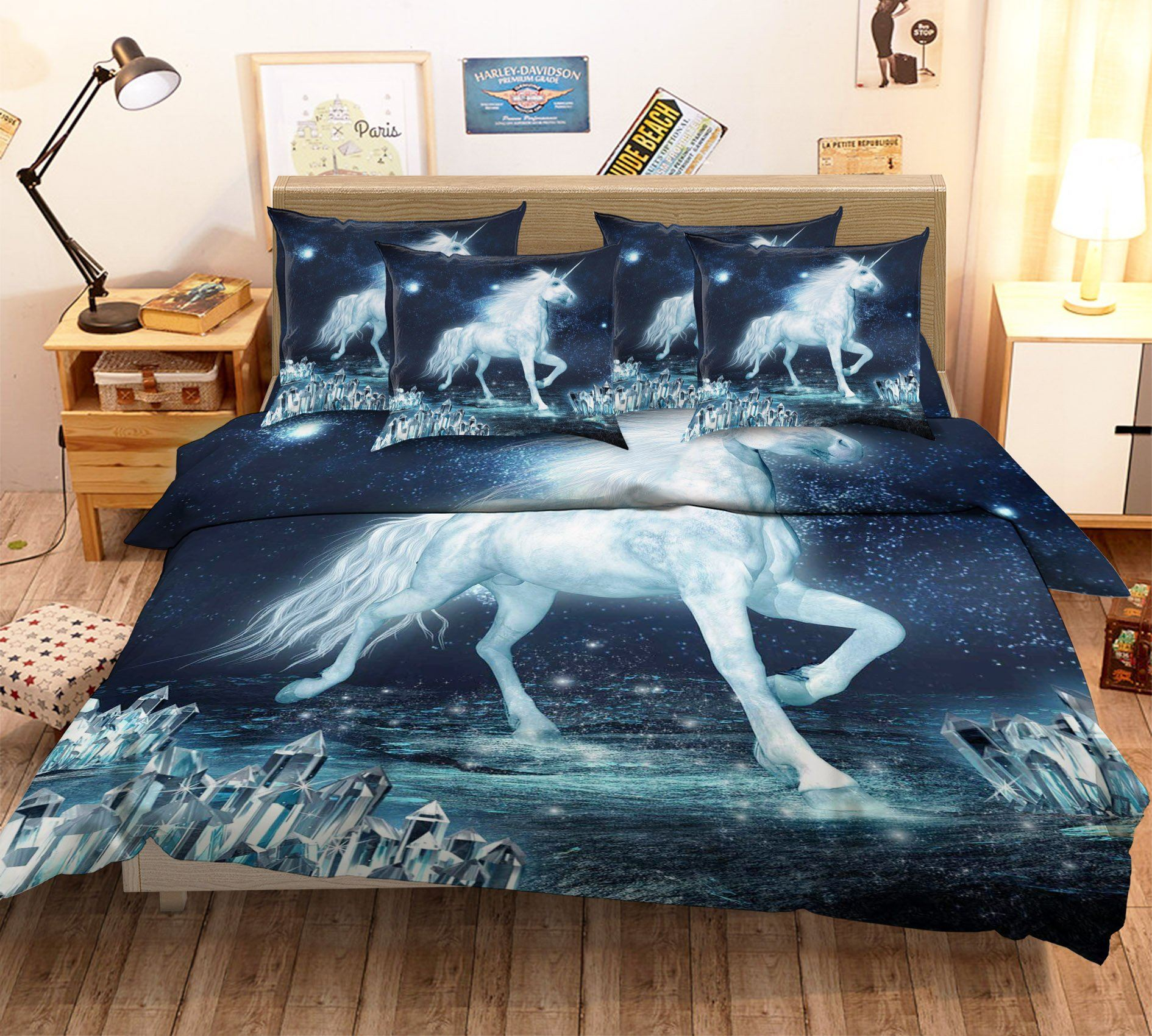 3D Dazzling Unicorn 109 Bed Pillowcases Quilt
