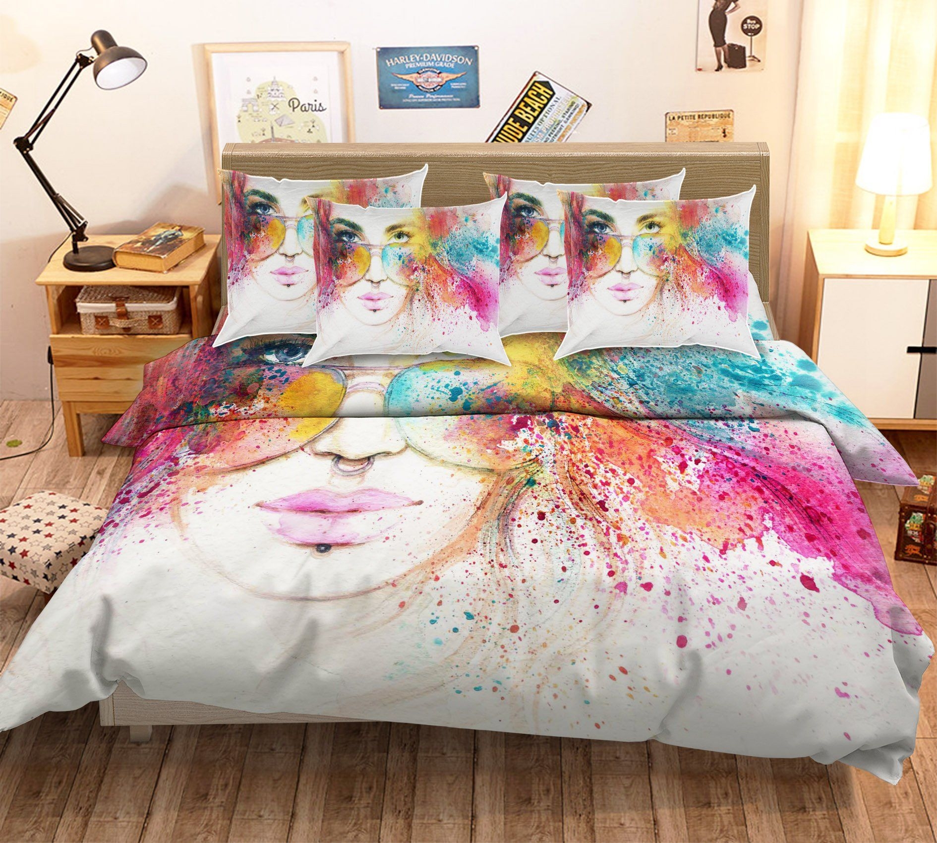 3D Graffiti Woman 28 Bed Pillowcases Quilt Wallpaper AJ Wallpaper
