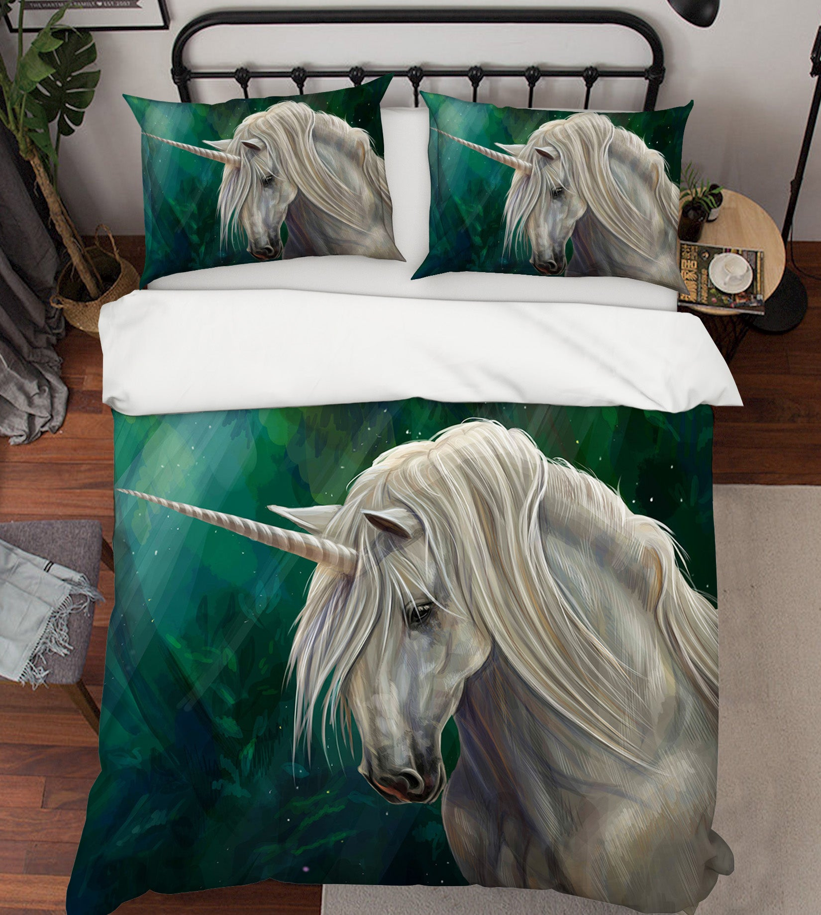 3D White Unicorn 028 Bed Pillowcases Quilt