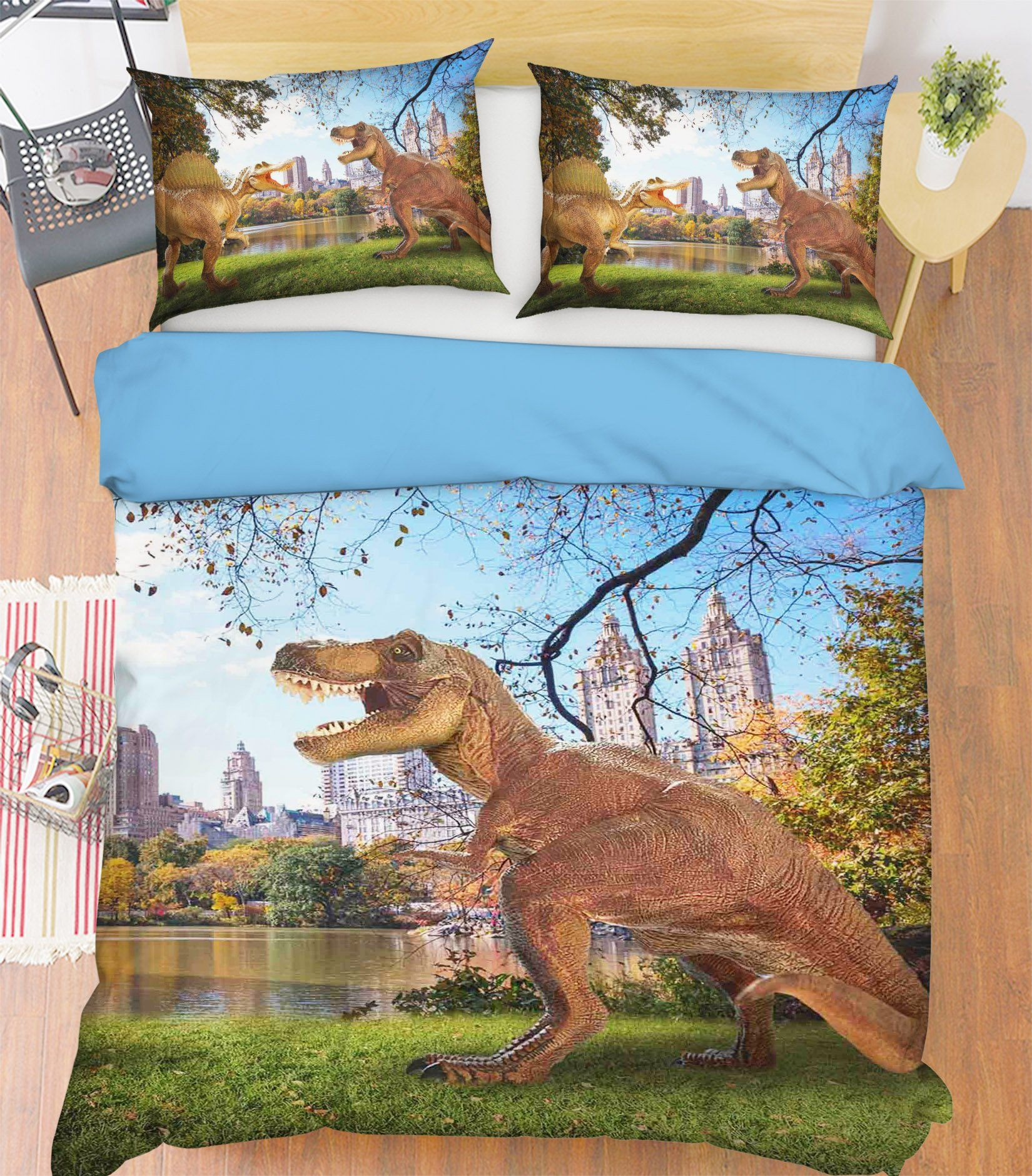 3D New York Dinosaurs 086 Bed Pillowcases Quilt Wallpaper AJ Wallpaper