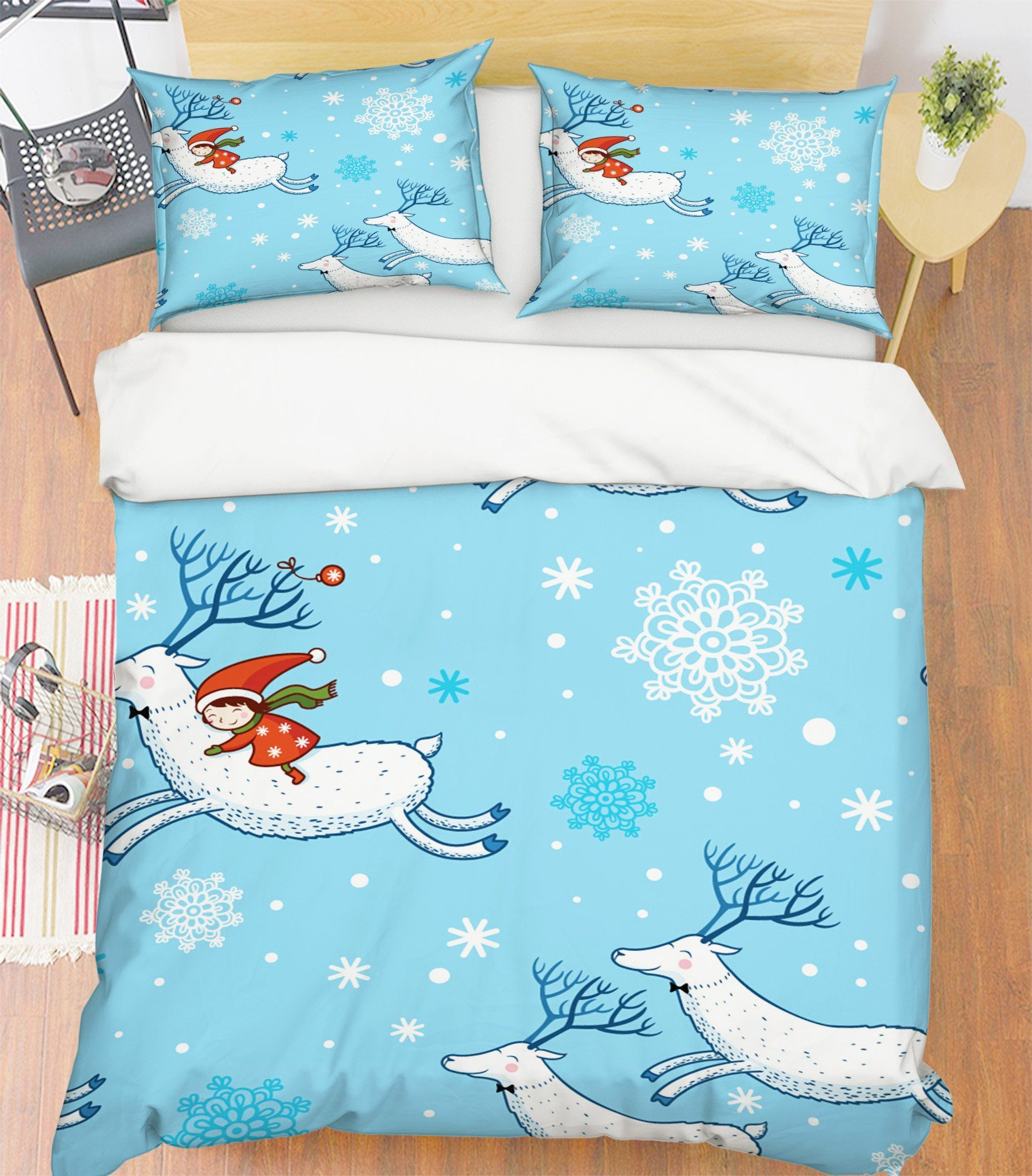 3D Christmas Cute White Deer 47 Bed Pillowcases Quilt