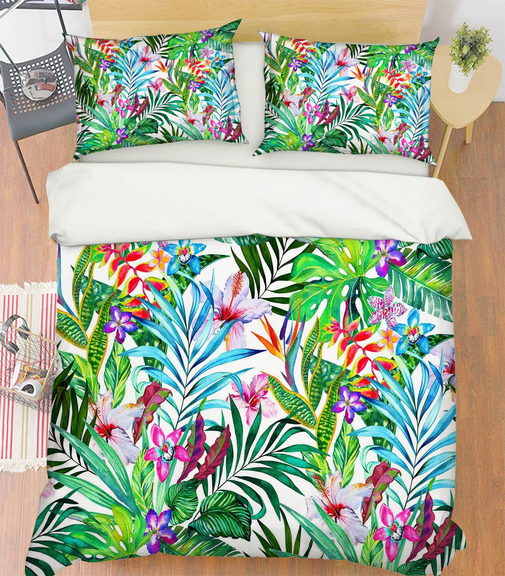 3D Bright Flowers Leaves 211 Bed Pillowcases Quilt