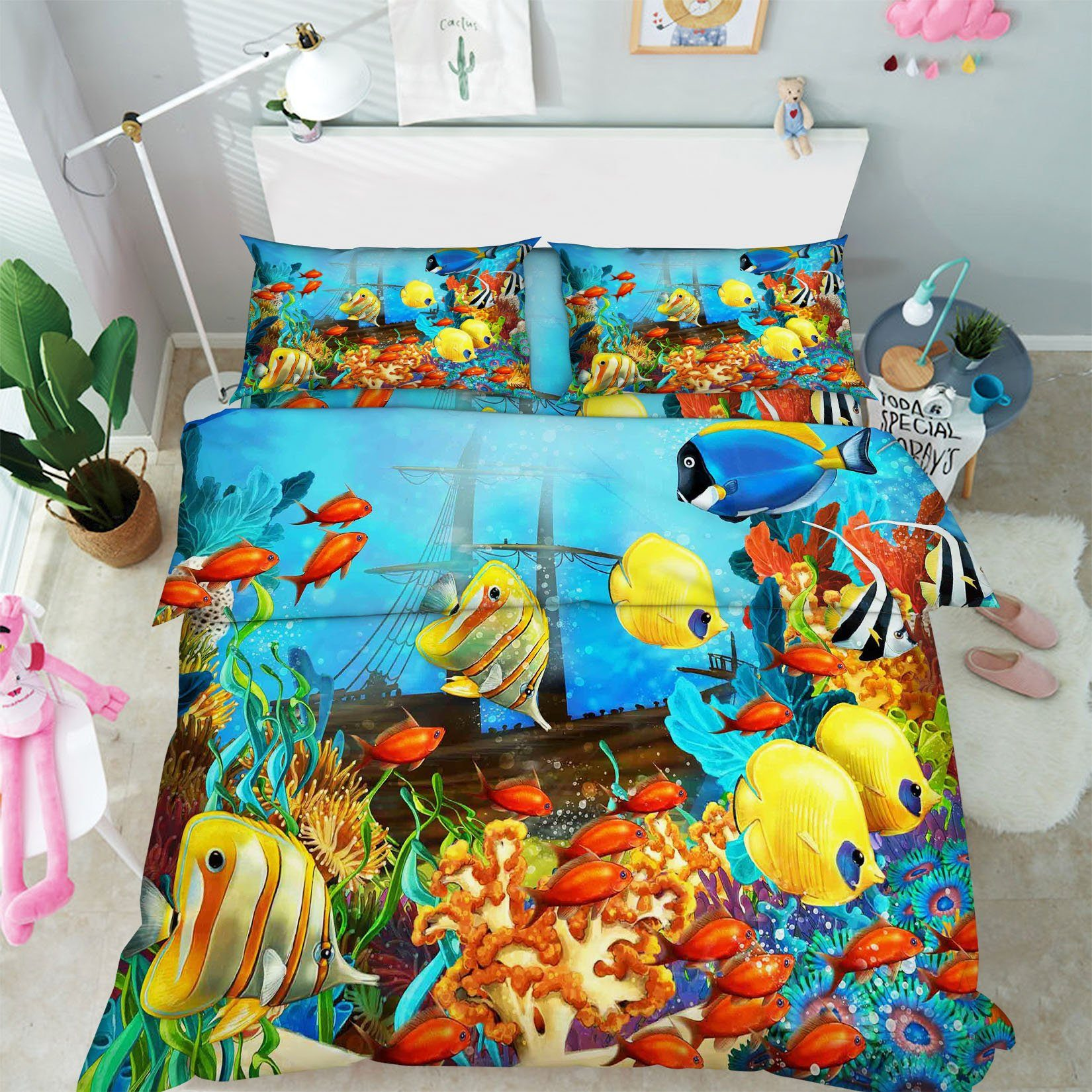 3D Colored Seabed Boat 120 Bed Pillowcases Quilt