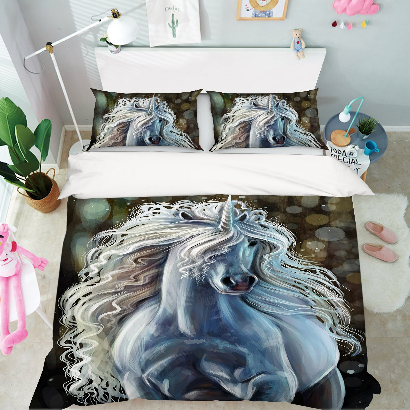 3D White Unicorn 030 Bed Pillowcases Quilt