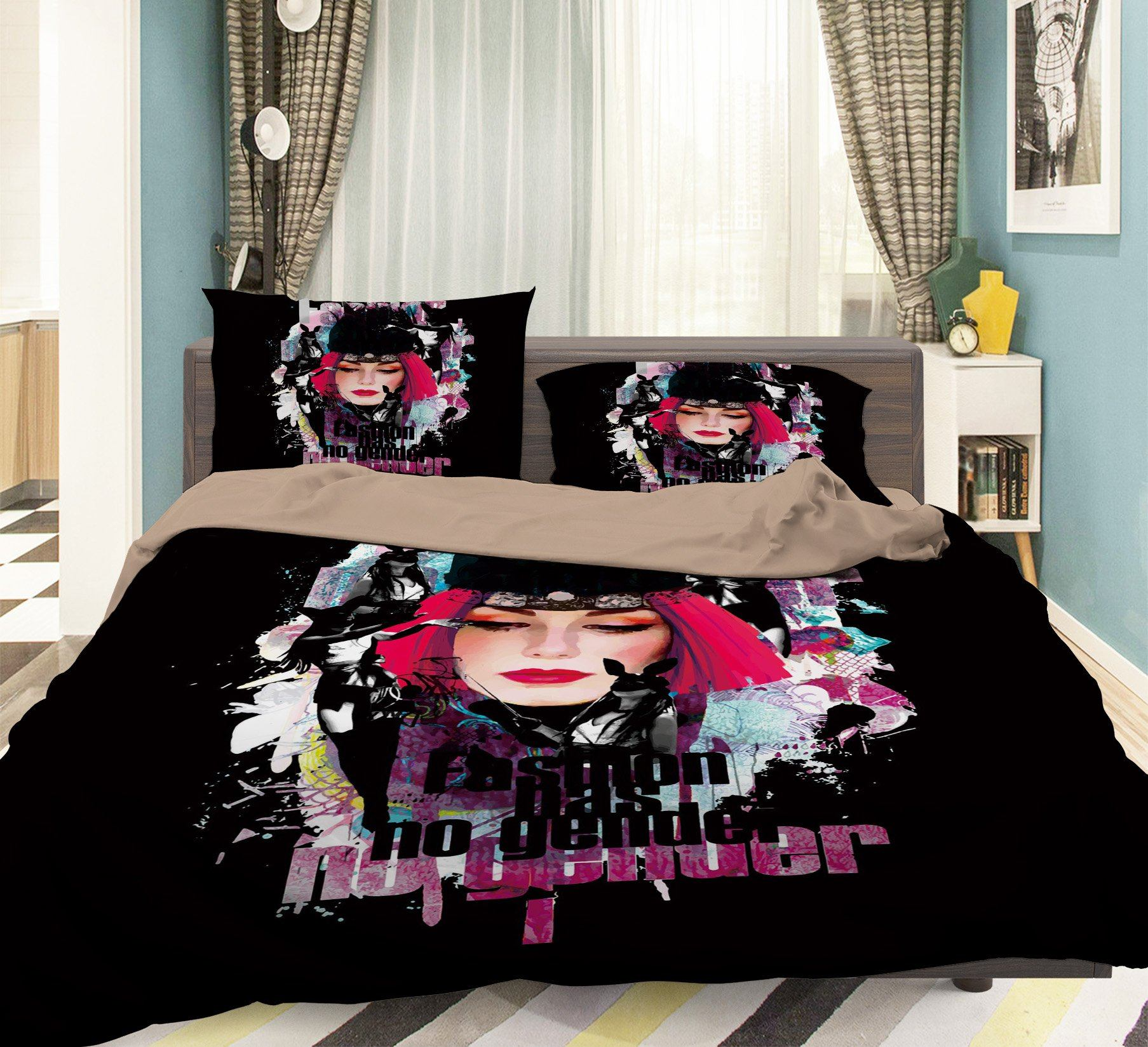 3D Woman Black Hat 047 Bed Pillowcases Quilt Wallpaper AJ Wallpaper
