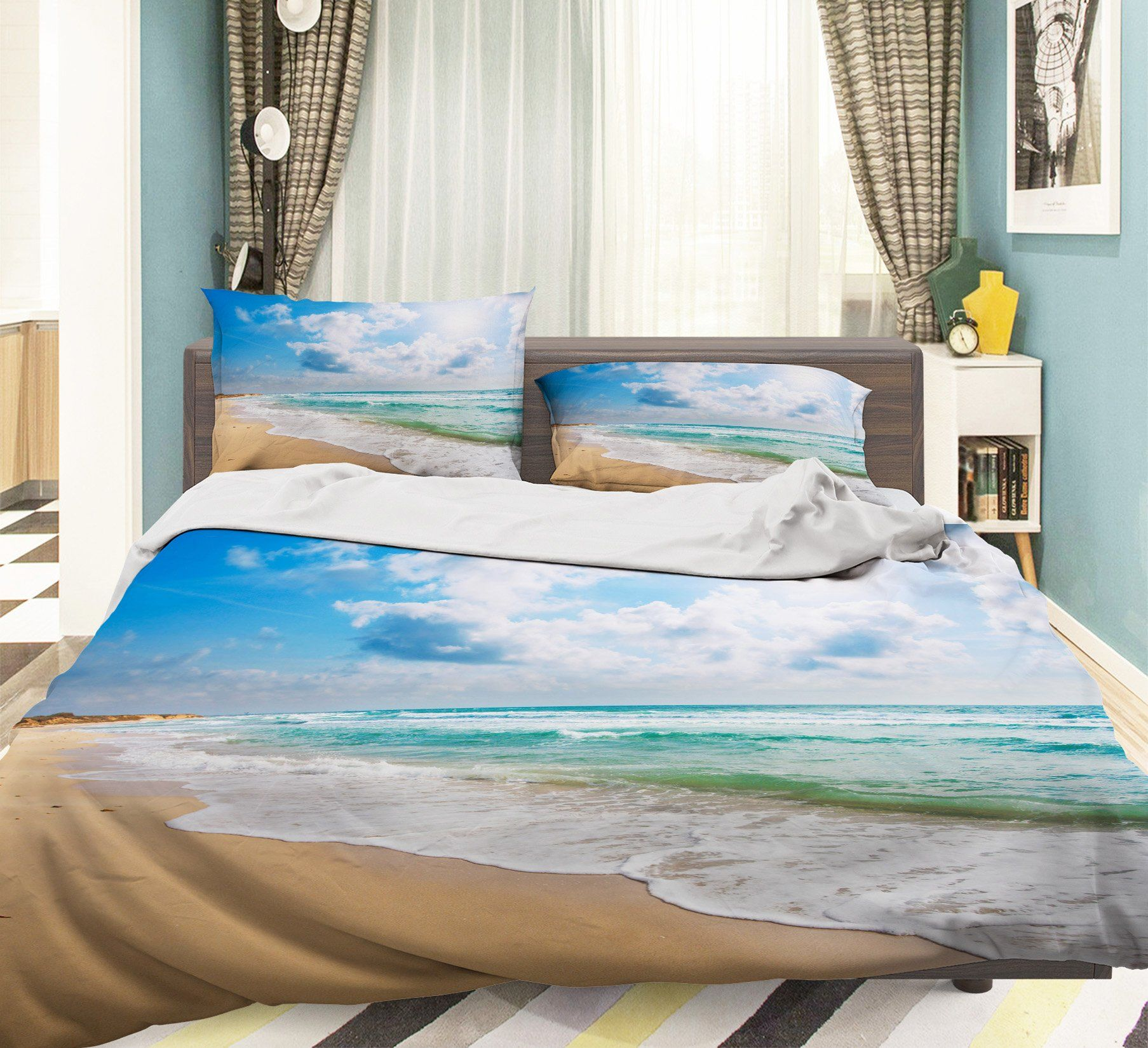 3D Seaside Beach 087 Bed Pillowcases Quilt
