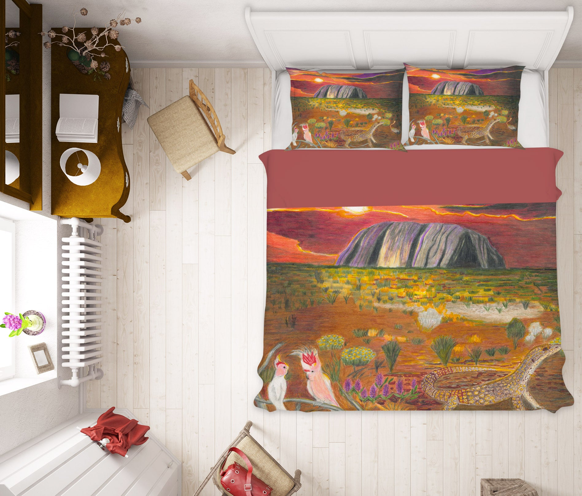 3D Sunset Waterfall 037 Michael Sewell Bedding Bed Pillowcases Quilt