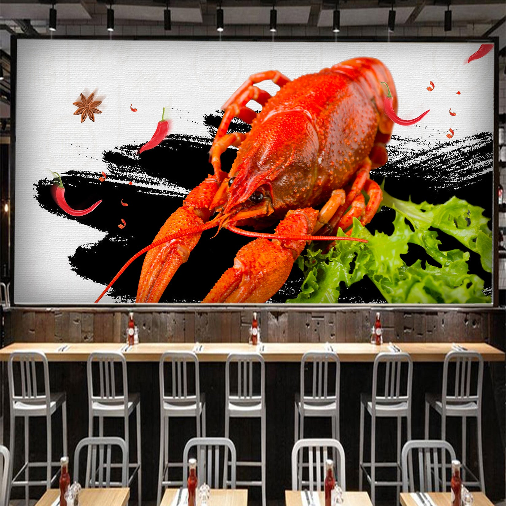 3D Spicy Lobster 051 Food Wall Murals