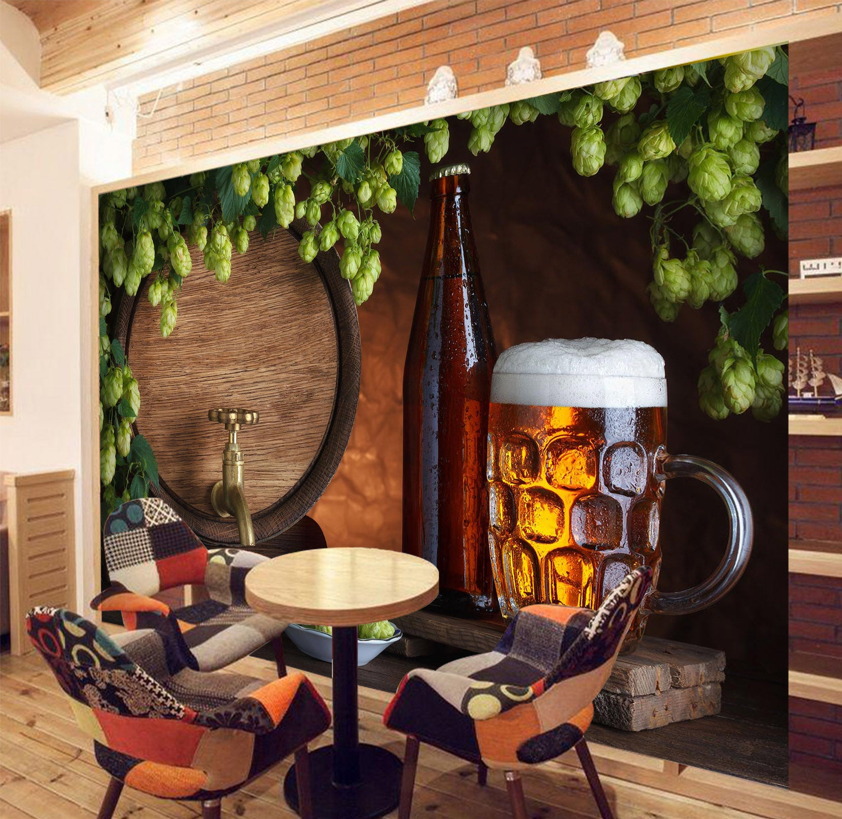 3D Beer Juice 254 Wall Murals