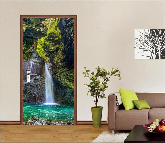 3D high mountains and Running water door mural Wallpaper AJ Wallpaper
