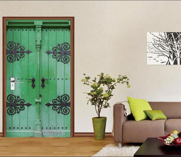 3D green gate door mural Wallpaper AJ Wallpaper