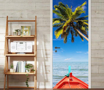 3D coconut tree Sea Ship door mural Wallpaper AJ Wallpaper