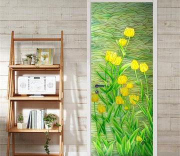 3D tulips green leaf oil Painting door mural Wallpaper AJ Wallpaper