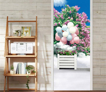 3D balloon beautiful flower balloon door mural Wallpaper AJ Wallpaper
