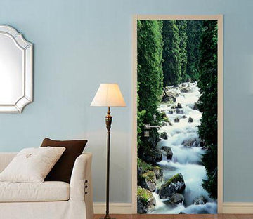 3D pine river stone door mural Wallpaper AJ Wallpaper