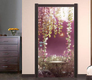 3D Pretty Flowers Vine Swing Door Mural Wallpaper AJ Wallpaper