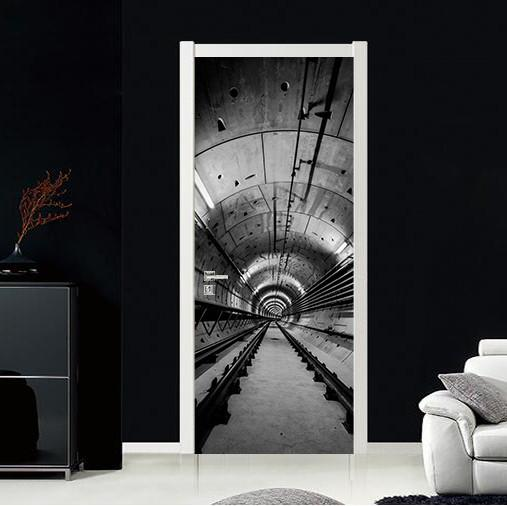 3D black space door mural
