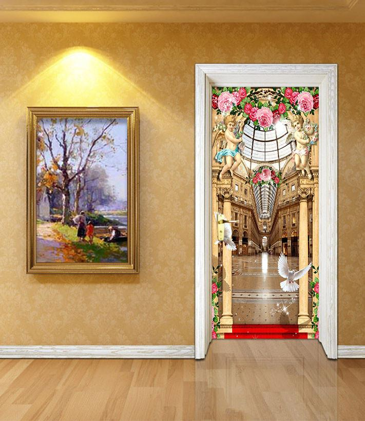 3D angel surround church door mural