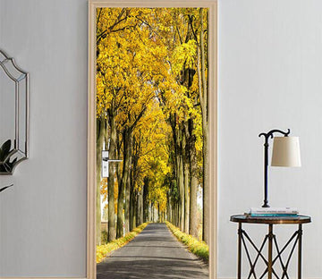 3D autumn tall tree door mural Wallpaper AJ Wallpaper