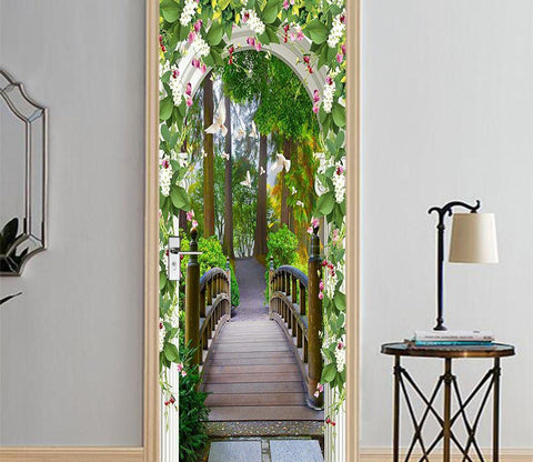 3D arch covered with flowers door mural