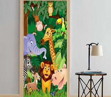 3D animal kingdom cartoon mori inside door mural Wallpaper AJ Wallpaper