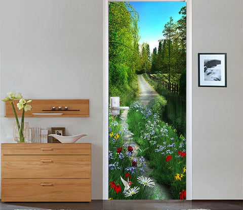 3D Path Flowers And Trees Door Mural Part 39