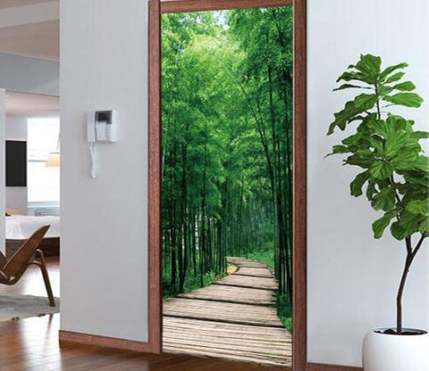 3D bamboo forest brick road bamboo leaf door mural