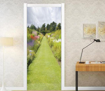 3D grassland flower scenery door mural Wallpaper AJ Wallpaper