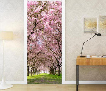 3D natural flowers and trees door mural Wallpaper AJ Wallpaper