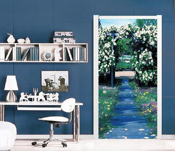 3D flower arch path door mural Wallpaper AJ Wallpaper