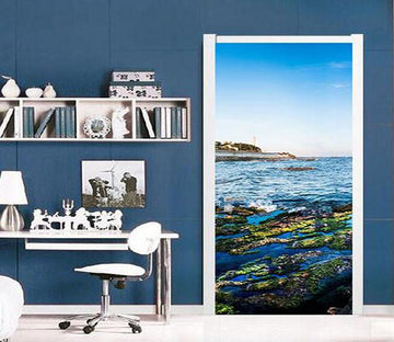 3D beautiful seascape door mural Wallpaper AJ Wallpaper