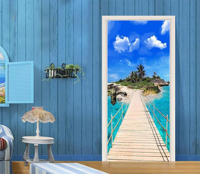 3D Islands in the sea door mural