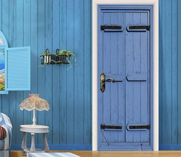 3D board blue painting door mural Wallpaper AJ Wallpaper