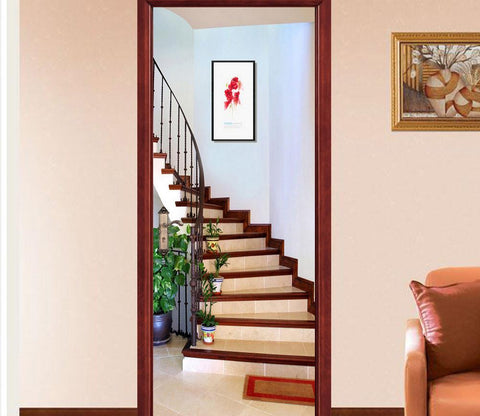 3D Stairs Flowerpot Door Mural Part 98
