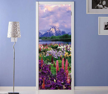 3D snow capped mountains and flowers door mural Wallpaper AJ Wallpaper