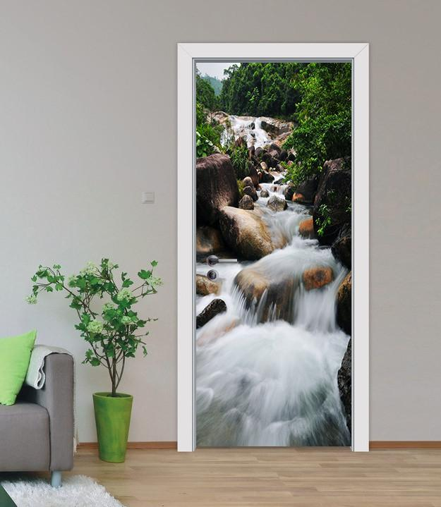 3D stones under the river door mural Wallpaper AJ Wallpaper