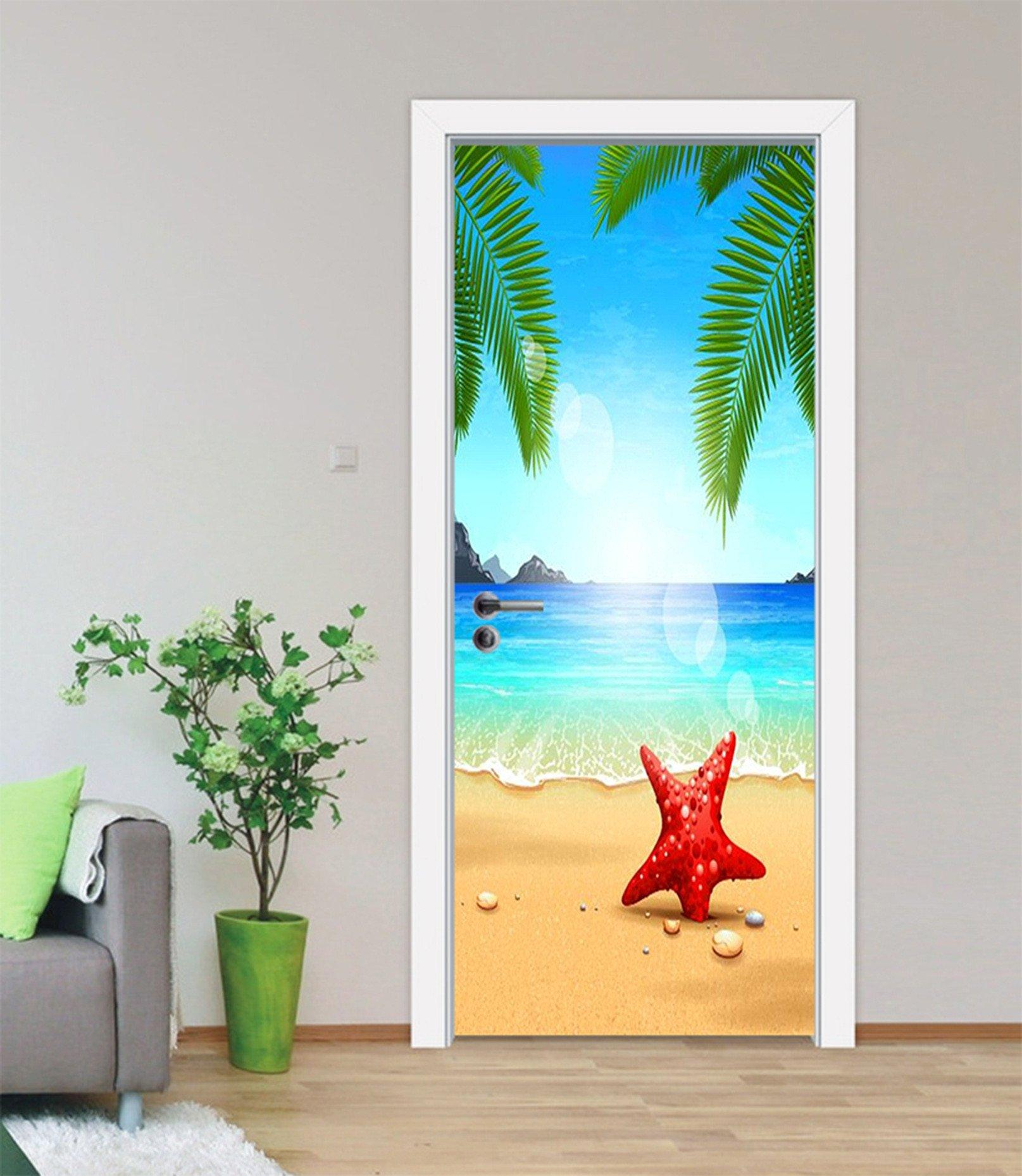 3D Beach Starfish 51 Door Mural