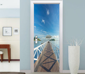 3D deck house seascape door mural Wallpaper AJ Wallpaper