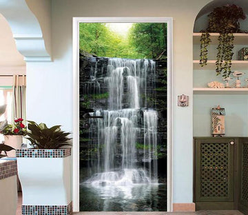 3D flying waterfall door mural