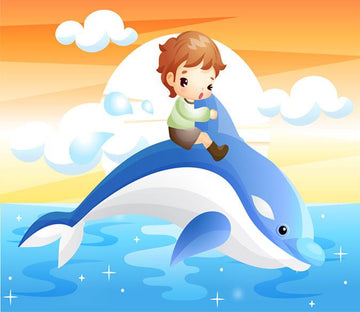 3D Boy Riding Dolphin 353