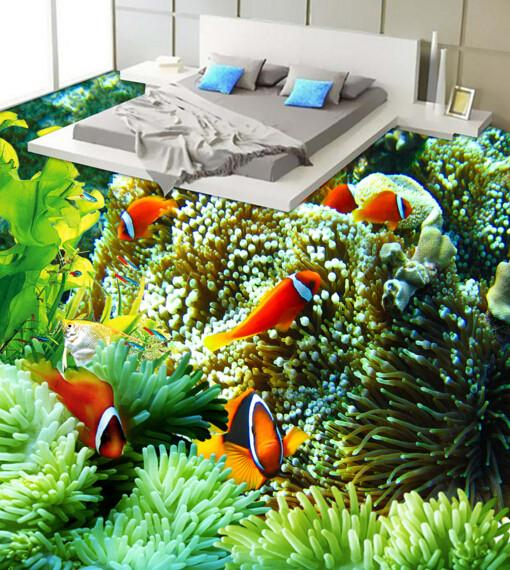 3D Coral Fauna Floor Mural Wallpaper AJ Wallpaper 2
